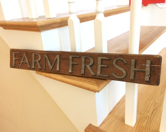 Vintage Hand Painted small Wood Sign FARM FRESH Antique