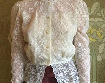 80's vintage lace blouse