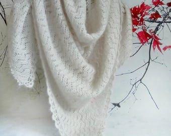 Lace knit scarf Beige knit lace shawl Bridal shawl Luxury wedding wrap Glamorous scarf High quality royal mohair & silk Soft knit scarf CIJ
