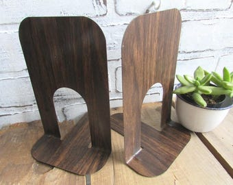 Faux Wood Book Ends Vintage Metal Woodgrain Bookends Mid Century