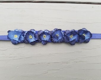 Navy Blue Flower Bun Wreath