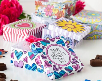Mother's Day Gift Box Templates (6 Pack) | 6 Printable PDF gift box templates | Color in and make for a personalized Mother's Day gift idea