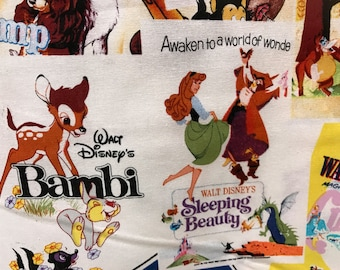 Disney Posters Classics vintage style fabric, Disney fabric, Snow White, Peter Pan, Lady and the Tramp fabric, cartoon fabric