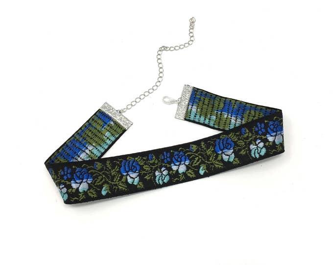 CLAUDIA: blue floral stitched jaquard choker