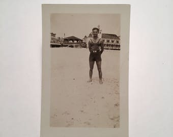 Vintage Snapshot - Beach Model No. 1, Original 1940s Gelatin Silver Photograph