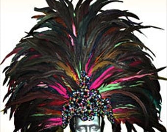 Showgirl Samba Headdress - Coiffe Plume - Feather Samba Headdress, Showgirl Headdress, Vegas Headdress, Sambakopfschmuck, Federkopfschmuck