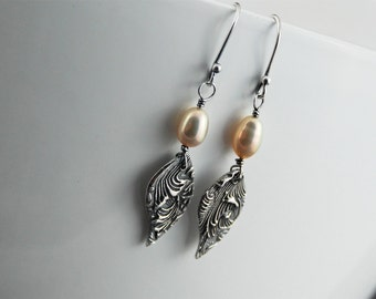 Silver earrings pearl drop earrings artisan jewelry Valentine's day gift Gift for her