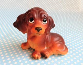 """Vintage ceramic dachshund Weiner puppy figurine, 2.5"""" high"""