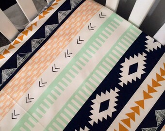 Arizona and aztec crib sheet | tribal theme bedding | aztec nursery | navy, mint, yellow-gold, blush | woodland baby bedding | modern baby |