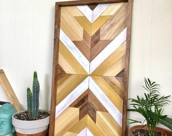 Geometric Tribal Wood Wall Hanging or Serving Tray - Black, White, Gold