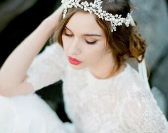 Handmade Silver Floral Leaf Wedding Headpiece Tiara