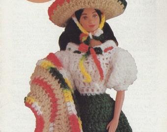 International II, Annie's Attic Fashion Doll Barbie Crochet Pattern Leaflet 87D23 Mandarin Lady Mexican Senorita Geisha Girl Scottish Lass