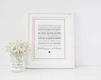James Arthur 'Say You Won't Let Go' Song Lyrics Print, Music Gift, gift idea - Gift for her, gift for him - gift for boyfriend or girlfriend