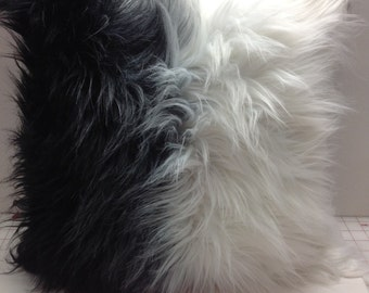 ombre faux fur throw pillowtibet fox fur pillow coverblack u0026 white luxury