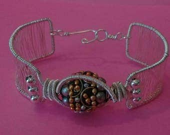 Tribal jewelry, silver and gold bracelet, cuff bracelet, bracelet, size 7 bracelet, earthy jewelry, environmentally friendly shop, gift
