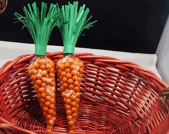 Easter Carrot Treat Bag DIY Kit Makes 6 Carrot Treat Bag DYI Carrot Treat Bags Cone Shape Treat Bag, Carrot Greens and Twist Ties
