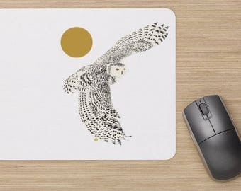 Mouse pad, the snowy owl, the snow owl, the white owl, snowy owl mouse pad,