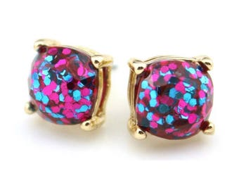 Pink and Blue Glitter Stud Earrings