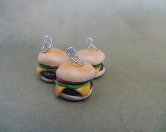 Polymer clay burger/cheeseburger charm/bracelet / earrings / keychain