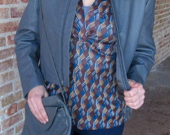 Blue Brown and Grey Geo Pattern Blouse