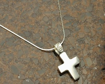 Silver Cross Necklace, Cross Pendant in Solid Sterling with Silver Chain