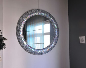 Large Round Mirror / Mosaic Mirror / Decorative Mirrors / Christmas Gifts Decoration / Oval Mirror / Circle Wall Mirror / Modern Decoration