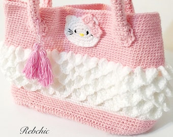 "Crochet - Style ""Hello Kitty"" - handbag bag"