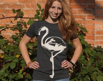 "Women scooped neck T-Shirt ""Flamingo"""