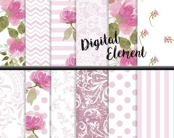 Digital Scrapbook Paper, Digital Paper, Pink Peony Watercolor Paper, Digital Floral Paper, Shabby Chic Digital Scrapbook Paper. No. P162