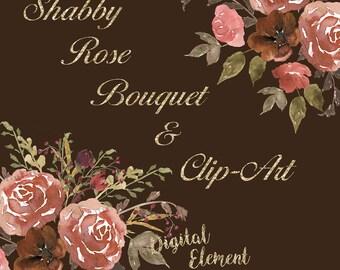 Digital Watercolor Clip-art, Peach and Copper Rose Clip-art,Flower Watercolor Clip-art, Hand Painted Rose Clip-art. No. WC27