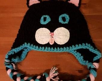 Crochet Cat hat, winter hat, kids crochet hat, hat with earflaps