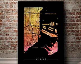 Miami Map - City Street Map of Miami, Florida - Art Print Watercolor Illustration Wall Art Home Decor Gift - PRINT