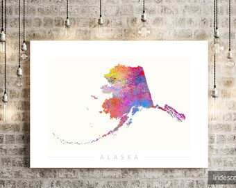 Alaska Map - State Map of Alaska - Art Print Watercolor Illustration Wall Art Home Decor Gift - SUNSET PRINT