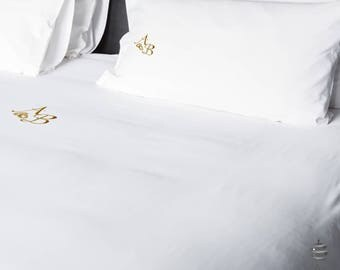 Wedding & Weddings Anniversary Gold Personalized Double Flat Bed Sheets
