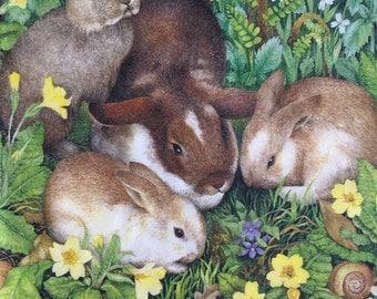 Paper Napkins For Decoupage Set 4 Easter Napkins Rabbits