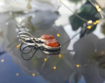Small dangle silver earrings,  Amber earrings,  Sterling silver,  drop earrings,  cute