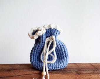 Bag small blue stained