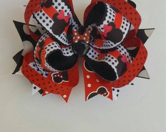 Minnie Mouse Red & Black Hairbow