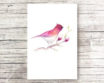 Original Magnolia Watercolor Painting, Magnolia Watercolor, Magnolia bird Watercolor Flower, Magnolia Painting ,birds watercolor