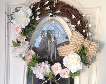 Rose and Hydrangea Front Door Wreath, White Floral Front Door Wreath, Grapevine Front Door Wreath