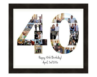 Personalized Birthday Gift, Number Photo Collage, Picture Collage, Custom Made from your Photographs Using Any Number! 40th Birthday
