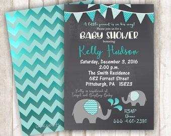 Boy Baby Shower Invitation Elephant Baby Shower Invitation Jungle Invitation Elephant Invitation Its a Boy Invitation Safari Invite BBEL03
