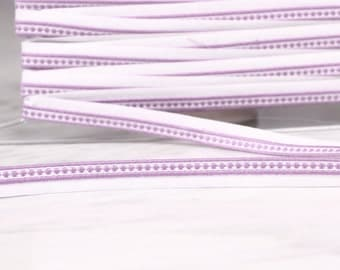 5 m Ribbon/piping, 12mm, cotton and acrylic, purple and white, (5027)