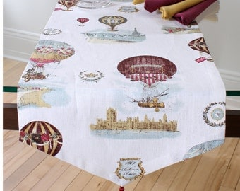 Hot air BALLOON, 100% linen table runner
