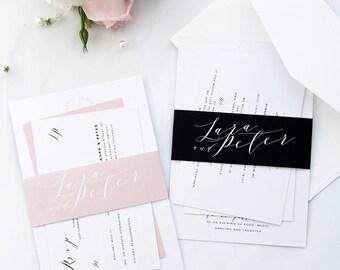 Lara Peach Modern Calligraphy Wedding Invitation Sets, Printable Wedding Invitations or Printed Cards, RSVP postcard, Wreath Invitations