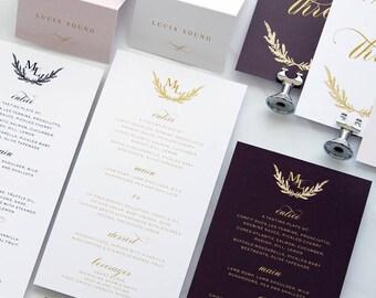 Mia Burgundy Elegant Menus, Printable Menus or Printed Menus, Menus with Names, Menus Gold, Plum and Gold, Marsala and Gold, Dark Cherry