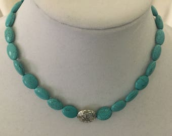 Turquoise and silver plated lentil bead necklace