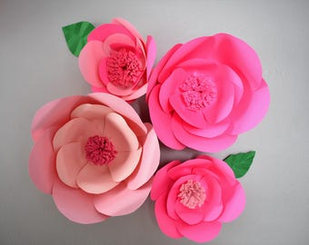 Pink Wall Decor, Giant Paper Flowers, Pink Wall Art