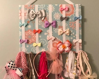 Hair Bow Holder & Headband Organizer/Padded Hair Bow Organizer with Hooks for Headbands/Head Band organizer/Hair Bow Organizer