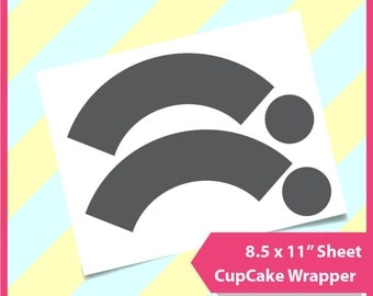 "Instant Download, Cup Cake Wrapper, Cup cake toppper, PSD, PNG and SVG Formats,  8.5x11"" sheet,  Printable 146"